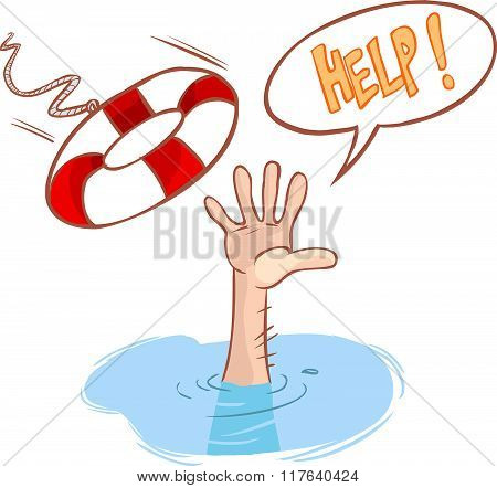 Vector Illustration Of A Drowning And Lifeline