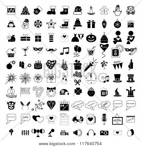 100 holidays and party icons