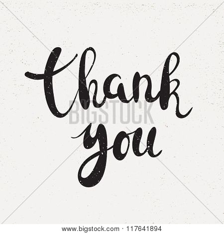 Thank you handwritten calligraphy vector illustration, Black brushpen lettering phrase on white background