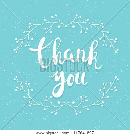 Thank you handwritten calligraphy vector illustration, white brushpen lettering phrase and floral brunch on blue background