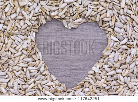 Sunflower Seeds In Heart Shape