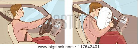 Vector Illustration Of A Car Crash And Airbag Deployment