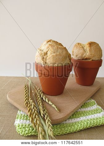 Bread in  terracotta flowerpot