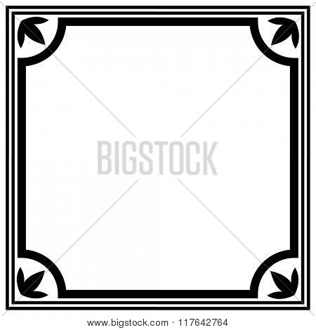 Simple black and white border vector template.