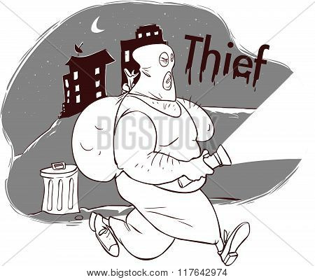Vector Illustration Of A Thief In Night City