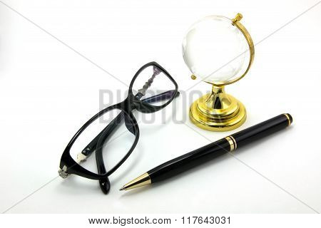 Glasses and pen