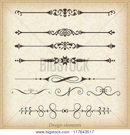 Ornamental dividers and ornaments. Vector illustration.