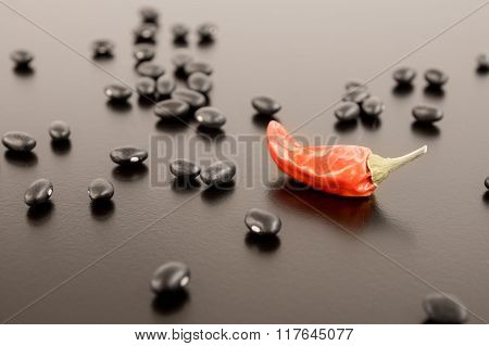 Dried Pepper Amid Black Beans