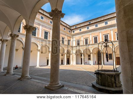 Ducal Palace Courtyard In Urbino, Italy