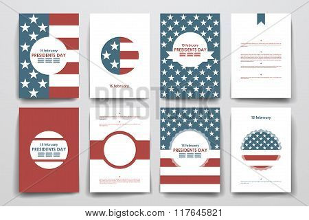 Set of brochure, poster design templates in Presidents Day style