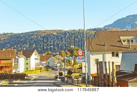 RUGELL LIECHTENSTEIN - JANUARY 5 2015: Road View in Rugell community of Liechtenstein. While Liechtenstein is known as a mountainous country Rugell is largely flat.