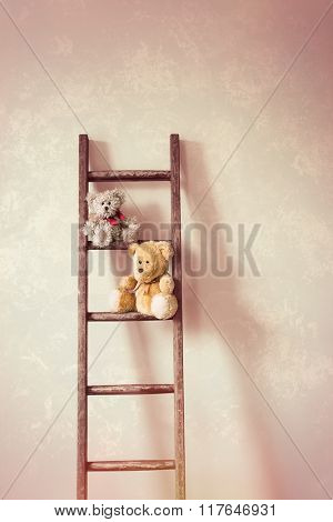 Two little teddy bears sitting on the rungs of a wooden ladder