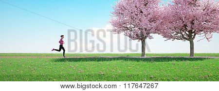 woman running in park on summer day. 3d rendering