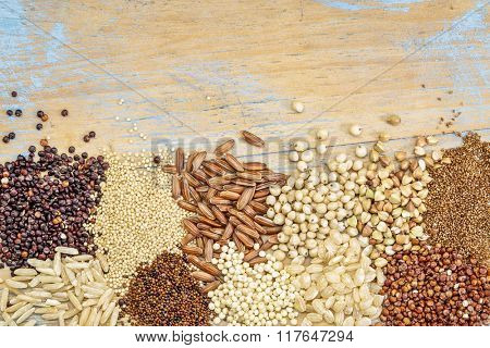 gluten free grains (buckwheat, amaranth, brown rice, millet, sorghum, teff,  red and black quinoa, kaniwa)  on a grunge painted wood - top view background with a copy space