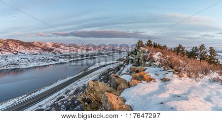 panorama of winter sunrise over Horsetooth Reservoir near Fort Collins in northern Colorado