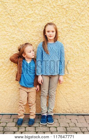 Fashion portrait of adorable kids