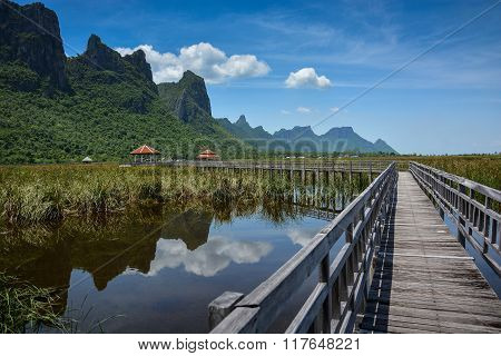 Wooden Bridge With Mountain And Lake Landscape