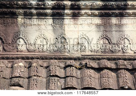 A Bas-relief Statue Of Khmer Culture In Angkor Wat