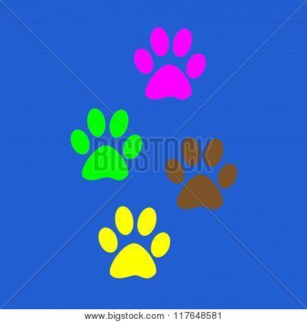 Colorful fun Prints paw prints animal.