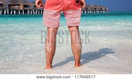 Man standing on Maldivian Beach