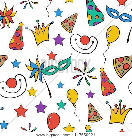 Hand Drawn Seamless Pattern Of Funny Party