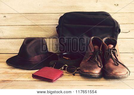 Vintage,wallet,sunglasses,hat,belt,bag And Leather Shoes On Wood Background