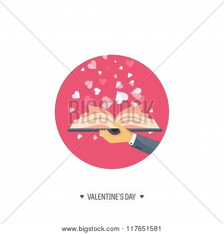 Vector illustration. Flat background with book. Love, hearts. Valentines day. Be my valentine. 14 fe