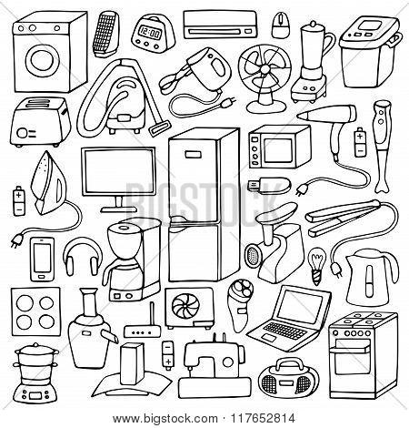 Household appliances hand drawn set