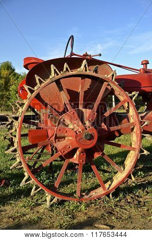 Steel wheel and lugs of tractor