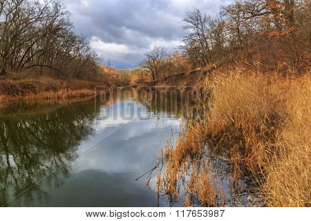 landscape with river at autumn day