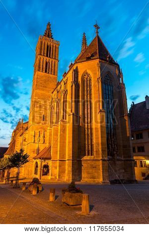 Beautiful view of the historic town of Rothenburg ob der Tauber Church, Franconia, Bavaria, Germany