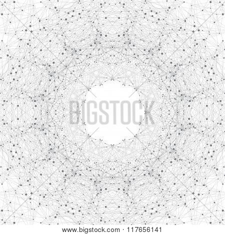 Geometric gray background molecule and communication. Connected line with dots. Vector illustration
