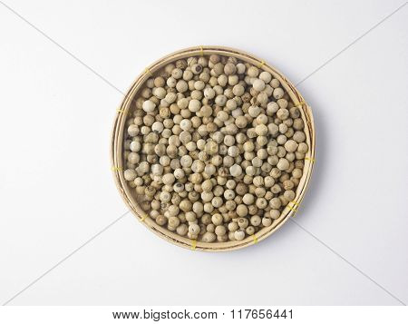 peppercorn in a bamboo tray