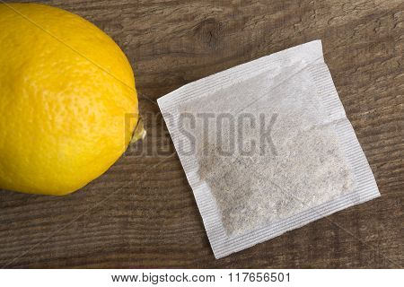 Lemon Teabag On Wooden Background