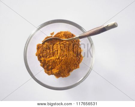 top view of the turmeric powder