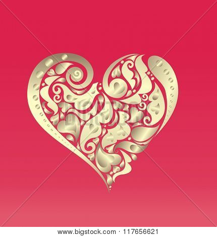 Card with abstract gold heart shape