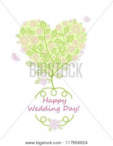 Beautiful greeting card for wedding invitation with blossoming tree