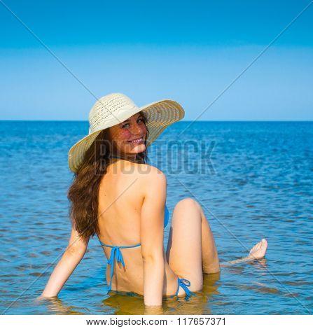 Girl Under Sun Beach Fun