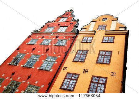 Two the most famous houses in Stockholm isolated on the white background