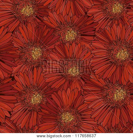 Pattern With Red Gerbera, Flower Texture.eps
