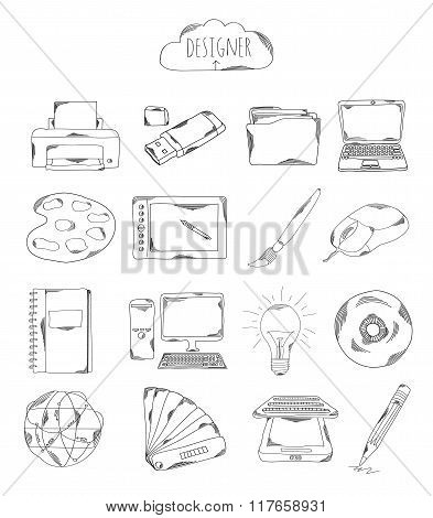 Professional Collection Of Icons And Elements. Set Designer, Computer Hand Drawn Elements Doodles Is