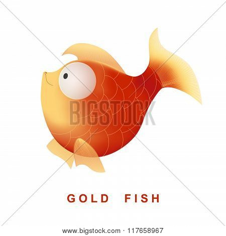 Vector cartoon character gold fish. Isolated on the white background