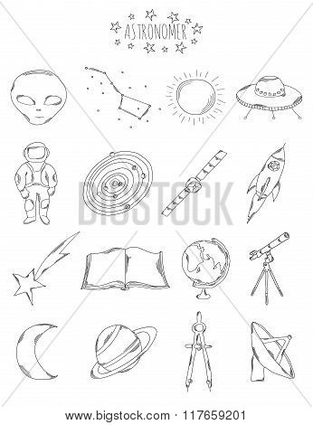 Professional Collection Of Icons And Elements. The Astronomical Set Of Hand Drawn Elements,  Doodles