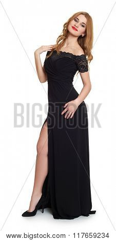Young woman in black evening gown on white.
