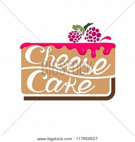 Cheesecake with raspberry jam. Vector