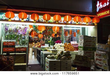 The Supermarket Thai Center Decorated For New Chinese Year.