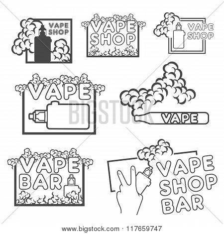 A set of electronic cigarette logos