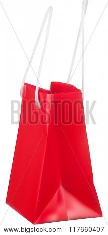 illustration with red paper bag isolated on white background