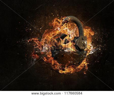 Lock burning in fire
