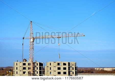 Construction Work At Building Site, Birds Eye View